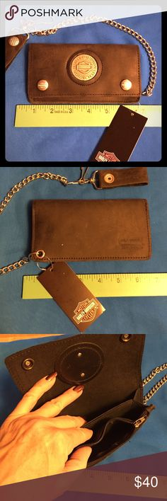 Harley Davidson Leather Wallet New with tags. Leather wallet with chain. Harley Davidson Bags Wallets