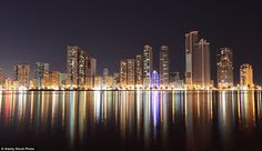 Family friendly Sharjah is the only dry state in the UAE and is about 30 minutes drive from Dubai Airport. Above, the skyline at night