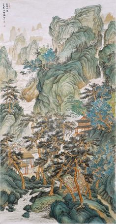 Asian Landscape, Chinese Landscape Painting, Landscape Paintings, Oriental East, Asian Artwork, Waterfall Paintings, East Of Eden, China Painting, Chinese Art