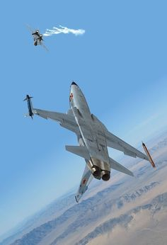 Northrop Tiger II running a simulated attack on an Tomcat - Airplane Fighter, Fighter Aircraft, Airplane Art, Fighter Jets, Military Jets, Military Weapons, Military Aircraft, Navy Aircraft, Photo Avion