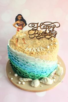 Moana - Birthday Cake - Cake by Joonie Tan Water part Birthday Cake Girls, Birthday Fun, Moana Birthday Cakes, Moana Theme Cake, Moana Cake Ideas, Moana Birthday Party Theme, Birthday Ideas, Bolo Moana, Decoration Patisserie