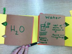Element foldable book, where the students list common elements and compounds, then write their common uses, formulas, where it is found, etc...everything they will need to know about them according to the standards.