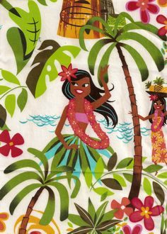 Love this Hula Girl Print!!! Coming Soon To SurferBedding.com and HulaGirlsBedding.com