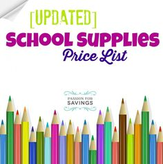 School Supplies Price List Sales August 21-27!!