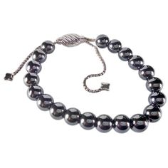Pre-owned David Yurman Spiritual Beads Bracelet With Hematite,... ($233) ❤ liked on Polyvore featuring jewelry, bracelets, accessories, metallic black, beaded jewelry, preowned jewelry, black bangles, david yurman jewellery and adjustable bangle