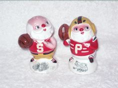 Vintage Christmas Santa Claus Football Basketball Sports Lego Salt & Pepper shakers Figurine Japan RARE. $65.00, via Etsy.