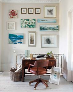 This is a great idea for a office if you don't have room for an actual one. At the end of the staircase, that's if you have one,  just add a desk, frame a couple of prints & paitings and you're done! Though, I think it works for other parts of the house too... Also, love the brown & blue shades color combo.  I think it looks great!