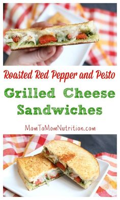 A simple grilled cheese sandwich is packed with extra flavor from pesto and roasted red pepper inside, giving it a gourmet spin! @MomNutrition