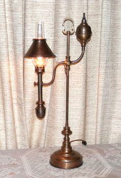 VTG FREDERICK COOPER BRASS DESK TABLE LAMP W MACBETH GLASS CHIMNEY 24 1 2 Tall