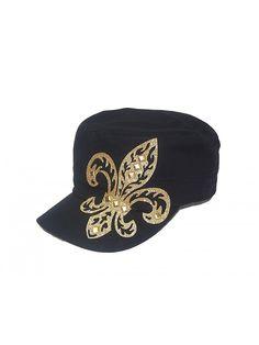 Gold Fleur De Lis Studded Flattop Black Hat - CE11MCO3FDN - Hats  amp  Caps 4957f3ce7017