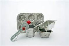 toy kitchen utensils and muffin pan~~60's...  important implements in making mud pies & muffins