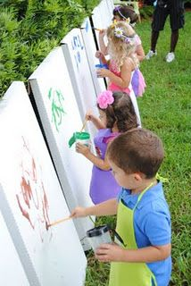 such a great idea for children's party! and they can take the art home to mom & dad as party favor!! party activity & favor all in one.
