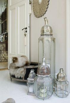 set of Moroccan glass lanterns.