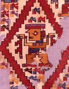 Museo Larco, Lima. Cultura Mochica. 1 - 800 D.C. Epoca Auge Fragmento de tapiz con diseños antropomoporfos