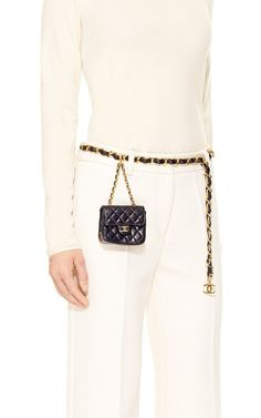 Chanel Navy Lambskin Beltbag by What Goes Around Comes Around for Preorder on Moda Operandi