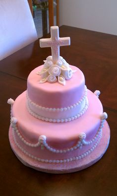Baby's Baptism Cake This was for my baby girls baptism. It's strawberry cake with white chocolate buttercream frosting. Fondant Cakes, Cupcake Cakes, Cupcakes, Wilton Fondant, White Chocolate Buttercream Frosting, First Holy Communion Cake, Religious Cakes, Confirmation Cakes, Occasion Cakes