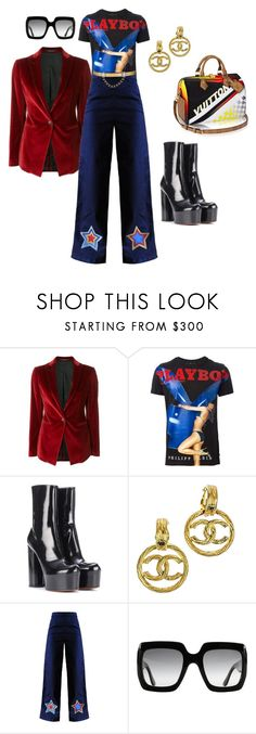"""""""maria is a disco icon"""" by alexa-xavier ❤ liked on Polyvore featuring Tagliatore, Philipp Plein, Vetements, Chanel, MPJ, Gucci, Maison Mayle, Louis Vuitton, velvet and playboy"""