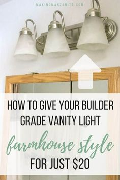 How to Give a Builder Grade Vanity Light Farmhouse Style # diy bathroom lighting How to Give a Builder Grade Vanity Light Farmhouse Style Painting Light Fixtures, Diy Light Fixtures, Bathroom Light Fixtures, Light Fixture Makeover, Chandelier Makeover, Diy Chandelier, Farmhouse Bathroom Light, Farmhouse Lighting, Rustic Lighting