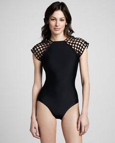 2013 Lattice-Sleeve One-Piece Swimsuit by Lenny at Neiman Marcus.
