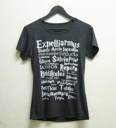 Short sleeve tshirt size S M L XL dark grey Expelliarmus magic spell Harry Potter shirt women t shirts by BlackTeenFashion on Etsy