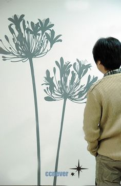 Items similar to Big agapanthus flowers----Removable Graphic Art wall decals stickers home decor on Etsy Wall Stickers Window, Flower Wall Stickers, Wall Stickers Murals, Vinyl Wall Art, Wall Decals, Dandelion Art, White Dandelion, Photo Mural, Plant Wall