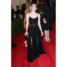 Emma Roberts Black Spaghetti Straps Custom Prom Dress 2013 Met Ball Red Carpet