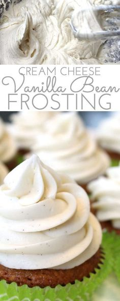 Gourmet Vanilla Bean Cream Cheese Frosting Recipe: Light, fluffy frosting flecked with yummy vanilla bean specks. Gourmet frosting for cakes and cupcakes alike! (Cake Recipes For Fondant) Brownie Desserts, Mini Desserts, Delicious Desserts, Fluffy Cream Cheese Frosting, Vanilla Bean Frosting, Vanilla Bean Cupcakes, Gourmet Cupcakes, Vanilla Cake, Vanilla Ganache