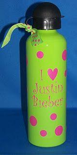 I Love Justin Bieber Lime Green/Hot Pink Water bottle $10