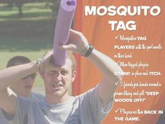 "Active group games for kids. Mosquito Tag - Variation - use spray water bottles as the ""Deep Woods Off"" Summer Camp Activities, Youth Activities, Activity Games, Motor Activities, Field Day Activities, Field Day Games, Summer Camp Games, Party Activities, Summer Fun"