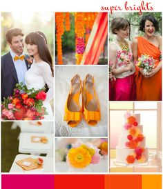 An obvious colour choice for a summer lovin' bride is bright orange or tangerine. This can be a tricky colour to pull off but I totally love what happens when you throw in a vibrant cerise pink and a bright happy yellow. Orange Wedding Shoes, Orange And Pink Wedding, Pink And Gold, Orange Pink, Wedding Color Schemes, Wedding Colors, Colour Schemes, Color Palettes, Spring Wedding Inspiration