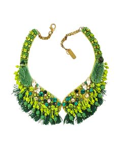 Radà Green Crystal and Bead Fringed Necklace | FORZIERI