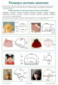 Crochet Knitting Handicraft: Dimensions of children's hats from Podarok