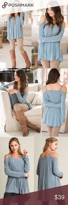 ❣️Soon❣️ Teal Ribbed Cold Shoulder High Lo Top Adorable highlow top in a teal blue. Super cute and nice to get away from the blacks and grays! Very chic and super comfortable, my customers love this top! It comes in S M L. Runs true/oversized. Model is wearing the small. Fits great for bigger busted women, so no worries there! Tops Blouses