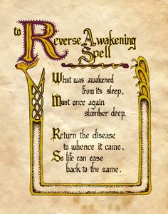 "Book of Shadows:  ""Reverse Awakening Spell,"" by Charmed-BOS, at deviantART."
