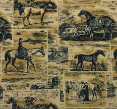 "WAVERLY POLO PROMENADE MIDNIGHT Dark Blue Horses Toile Fabric BY THE YARD 54""W  #Waverly"
