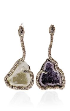 One Of A Kind Geode Earrings Surrounded By Diamond Pave Snake by Kimberly McDonald - Moda Operandi