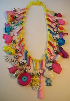 VINTAGE 80's Plastic Bell Clip CHARM NECKLACE Loaded Retro Fun #7
