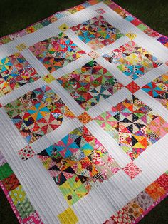 I love this Quilt, its a 9 Patch but each square has 8 pieces to make 1 block then , 9 squares to make the 9 Patch Square. Love the border to. I would have used Cream or black for stashing. I love , love this Quilt.--TD