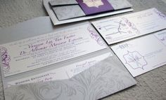 Silver Purple invites www.InvitationsFlash.com