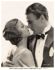"""Loretta Young and John Wayne """"Three Girls Lost"""", 1931 Old Hollywood Glamour, Golden Age Of Hollywood, Vintage Hollywood, Hollywood Stars, Classic Hollywood, Loretta Young, Old Movie Stars, Classic Movie Stars, Classic Movies"""
