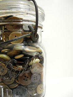 Vintage Buttons in a Vintage Jar