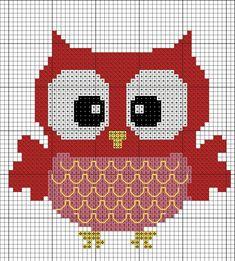 rood (maar dat is te veranderen in roze) uiltje Cross Stitch Owl, Cross Stitch Designs, Cross Stitching, Cross Stitch Embroidery, Cross Stitch Patterns, Owl Quilts, Graph Paper Art, Pixel Pattern, Crochet Diagram