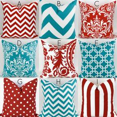 Turquoise & Red Pillow Covers  -16x16 - Mix/Match patterns cushion sham euro throw modern teal custom nursery decor PremierPrints