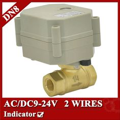 """27.03$  Buy now - http://aliqd4.shopchina.info/go.php?t=1878903080 - """"1/4"""""""" brass electric ball valve, DN8 motorized valve 2 wires, AC/DC 9V to 24V electric valve normal open or normal close"""" 27.03$ #magazine"""