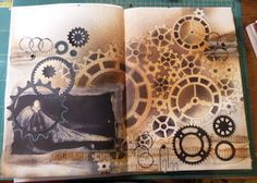 steampunk art journal page Gcse Art Sketchbook, Sketchbooks, Steampunk Drawing, Clock Art, Clocks, Mechanical Art, A Level Art, Sketchbook Inspiration, Art Journal Pages