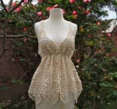 CQ .·:*ßeÁ©]-[Ý`*:·. Crochet: Lace Tank. The pattern has instructions for sizes S M L, and  is available as a single download purchase for 6.00 from Vogue Knitting or create your own! ¯\_(ツ)_/¯