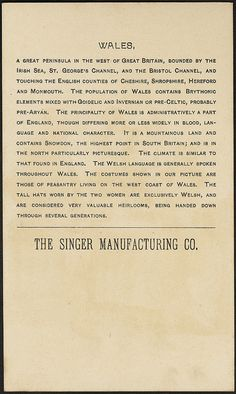Title: Wales. (back) Created/Published: N. Y. : J. Ottmann Lith Co. Copyrightdate: 1894