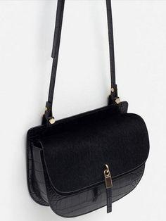 Black Magnetic Buckle PU Shoulder Bag
