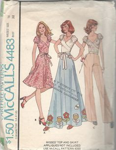 McCalls 4483 1970s Misses Puff Sleeve Pullover Top and Skirt
