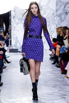 Carven | Fall 2016 Ready-to-Wear | 27 Blue printed long sleeve mini dress